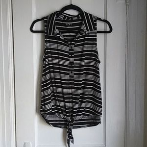 LOFT Tops - Black & White Striped Button Up Top